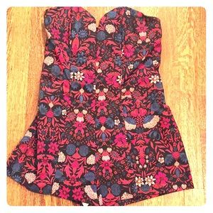 H&M Strapless Floral Romper with Pockets